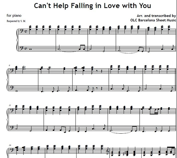 Cant Help Falling In Love With You Sheet Music For