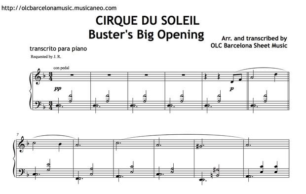 Cirque Du Soleil (Buster's Big Opening) Sheet Music