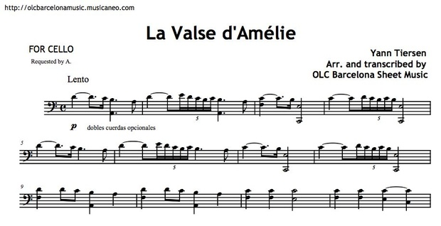 Valse d'Amelie - Cello arrangement sheet music