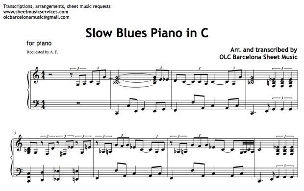 Slow Blues in C (Jazz Tutorial) Sheet Music (.pdf)
