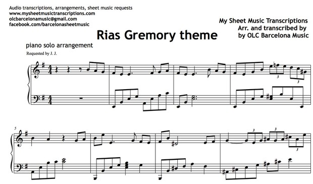 Rias Gremory (High School DxD Theme) Sheet Music