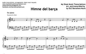 Himne del Barça (FC Barcelona's Anthem) - Partitura (Sheet Music)
