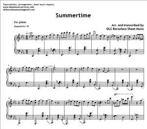 Summertime (Gershwin Jazz Standard) - Sheet Music (.pdf)