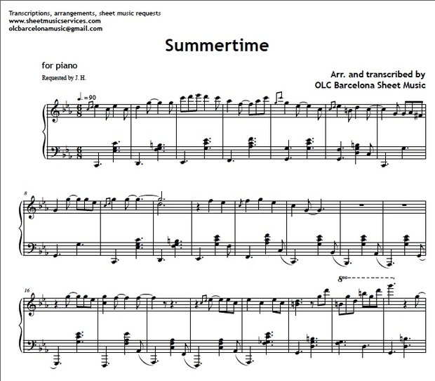 Summertime (Gershwin Jazz Standard) - Sheet Music ( pdf)