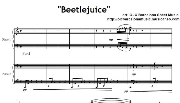 Beetlejuice for Two Pianos (Danny Elfman) Sheet Music (.pdf)