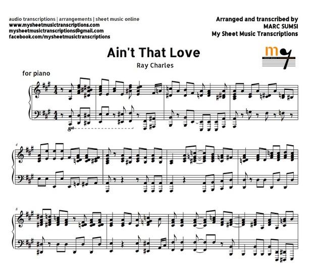 Ain't That Love (Ray Charles) Sheet music (.pdf)