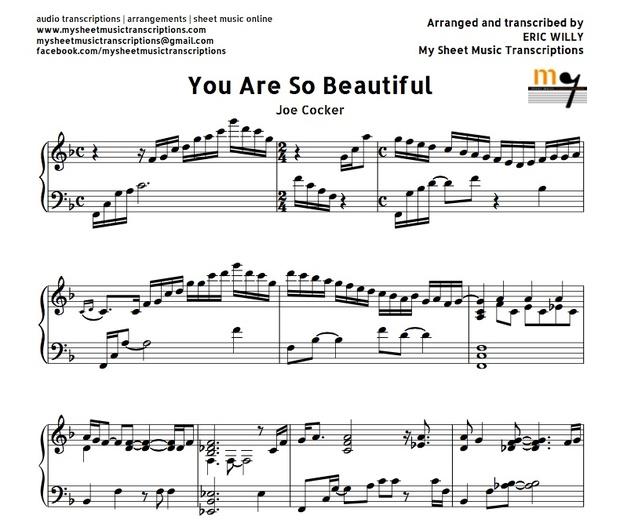 You Are So Beautiful (Joe Cocker) Sheet music ( pdf)