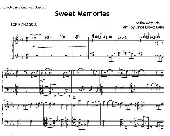 Sweet memories (Seiko Matsuda) - sheet music | arrangement for piano