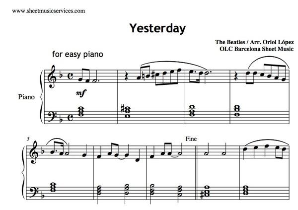 Yesterday (The Beatles) Sheet music ( pdf)