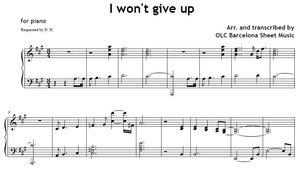 I won't give up (Jason Mraz) - piano sheet music