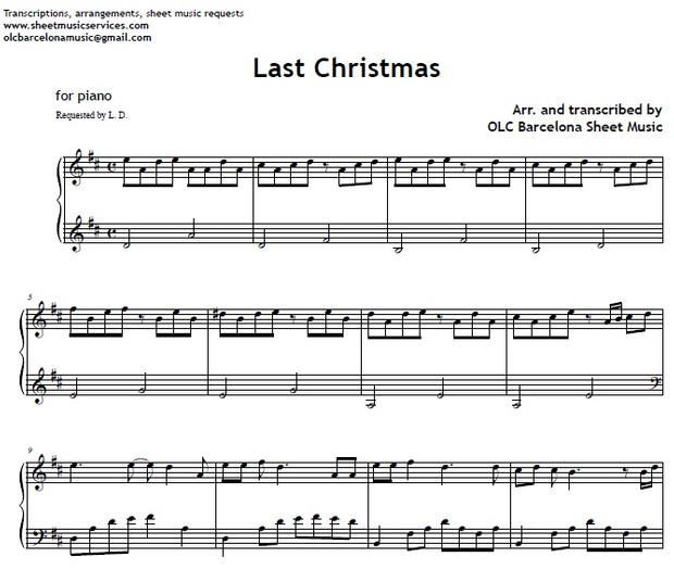 Last Christmas - Piano sheet music