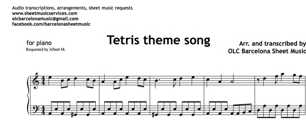 Tetris Theme (Easy Piano) - Sheet Music