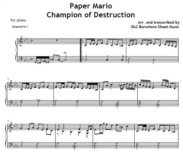 Champion of destruction (Paper Mario) - piano sheet music