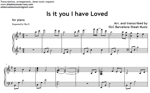 Is it you I have loved - sheet music for piano