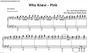 Who Knew (Pink) - piano arrangement