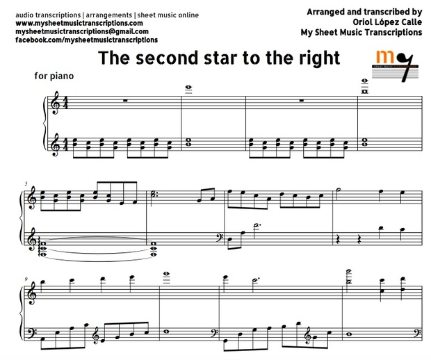 The Second Star To The Right (Peter Pan) Sheet music (.pdf)