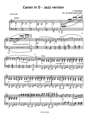 Canon in D jazz version - sheet music
