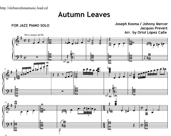 Autumn Leaves (Piano Jazz) Sheet music ( pdf)