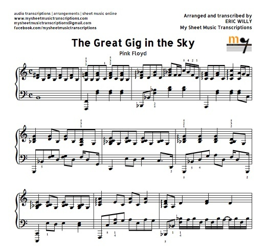 26 Best Images About Boomwhackers Sheet Music Partituras: The Great Gig In The Sky (Pink Floyd) Sheet Music (.pd