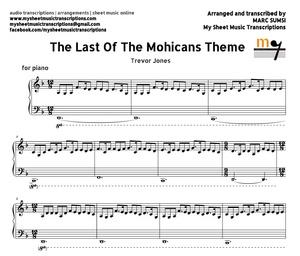 The Last of the Mohicans Theme (Trevor Jones) Sheet music (.pdf)