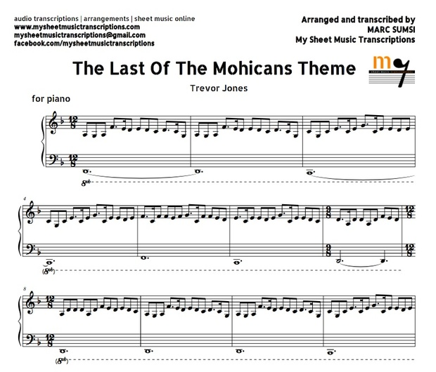 The Last of the Mohicans Theme (Trevor Jones) Sheet music (.pdf)