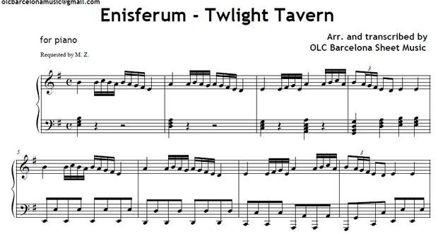 Ensiferum (Twlight Tavern) - piano arrangement