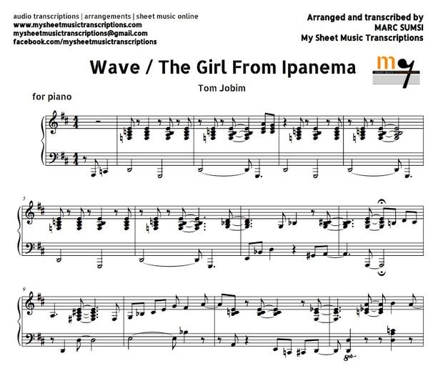 Wave / The Girl From Ipanema (Tom Jobim) Sheet music (.pdf)