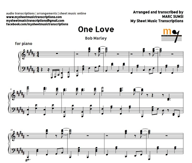 One Love (Bob Marley) Sheet music (.pdf)