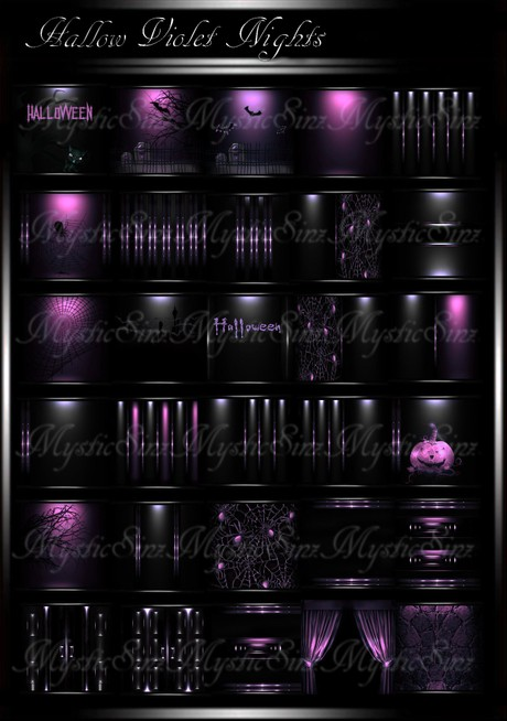 Hallow Violet Nights IMVU Room Texture Collection
