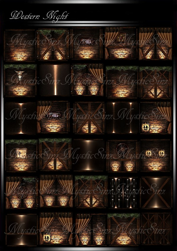 Western Night Room Collection IMVU + Bonus Window Pack