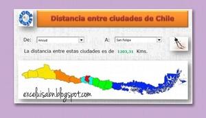 Distancia entre ciudades de Chile.