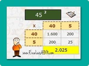 Cuadrados de decenas, con el algoritmo ABN v1.1.