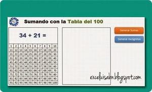 Generador de sumas, en la tabla hasta el 100.