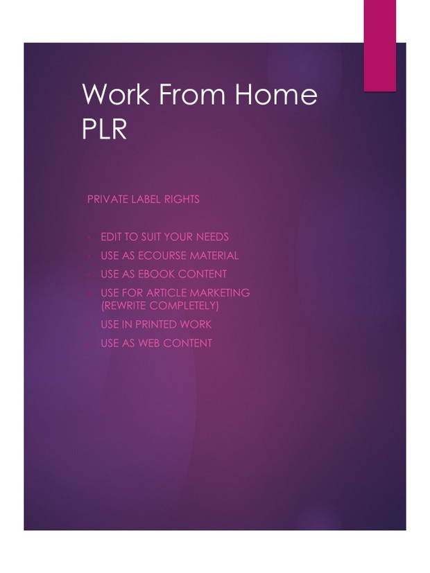 Work From Home PLR Package