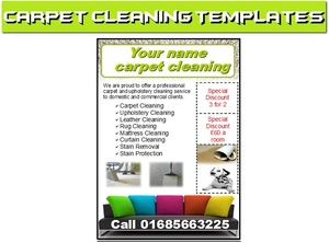 Carpet cleaning leaflets,flyer,business cards Business Start Up Pack