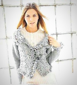 Jacket w Crocheted Fronts