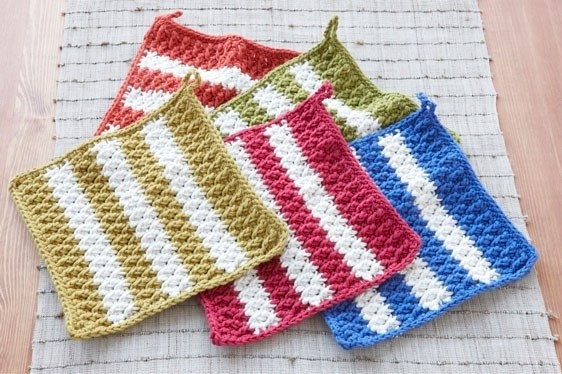 Crochet Striped Dish Mats
