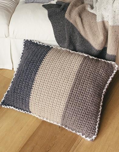 Striped Crochet Cushion