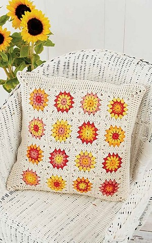 Sunflower Motif Pillow