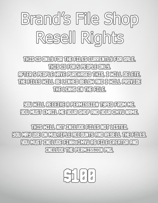 5 Resell Rights Permissions. 1 Left