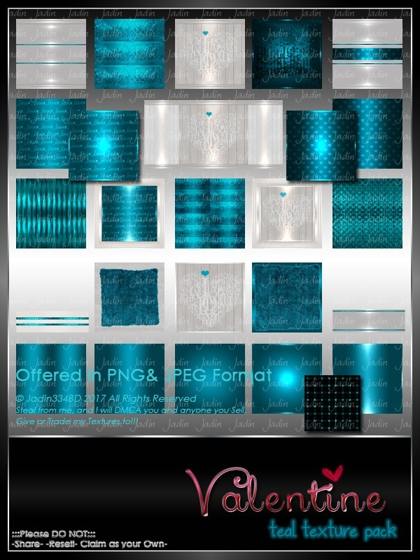 Valentine TEAL Texture Pack -- $5.00