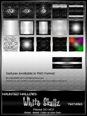 Haunted Hallows WHITE Skullz Texture Pack-- $2.00