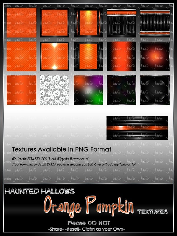 Haunted Hallows ORANGE Pumpkin Texture Pack-- $2.00