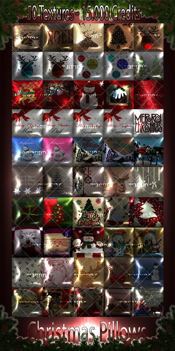 Christmas Pillows files 50 Textures 256x256jpg