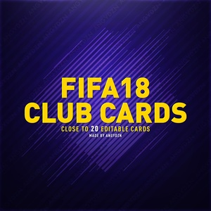 FIFA 18 Club Cards (18 cards PSD)