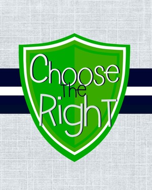 8x10 Choose the Right Green and Navy Blue