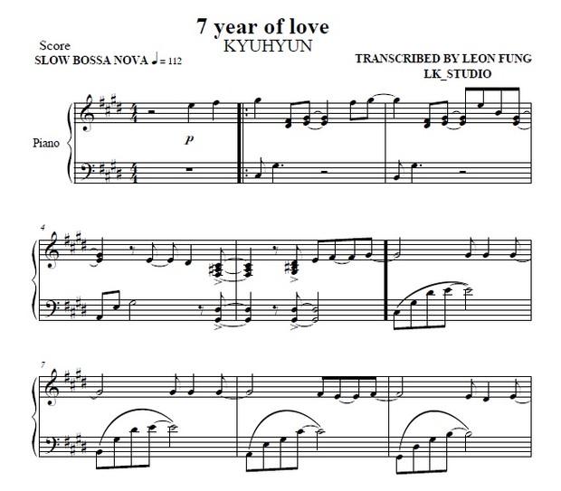 7 YEAR OF LOVE (C#m) KYUHYUN - Piano Sheet