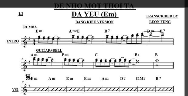 Band Sheet -  De Nho Mot Thoi Ta Da Yeu - Le Quyen- Key: Gm