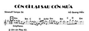 Band Sheet -  Con Gi Lai Sau Con Mua - Ho Quang Hieu - Key: Em