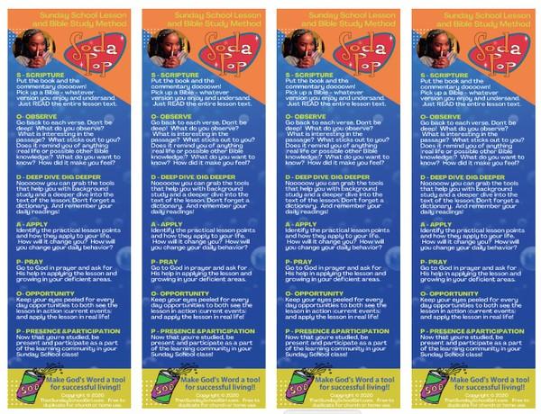 SODA POP Bible Study Printable - BOOKMARK